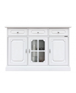 dining room cupboard, sideboard, wooden sideboard, glass door sideboard, classic cupboard, white cupboard, classic furniture, living room cabinet, dining room cabinet