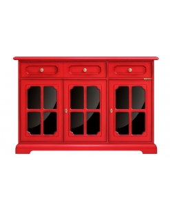 3 door red sideboard, colored sideboard, red cupboard, red and black sideboard, dining sideboard