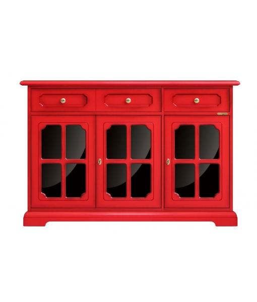 3 door red sideboard. Sku 279-RB