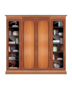 Wooden wall unit with glass doors, wall unit for living room, classic wall unit, books storage