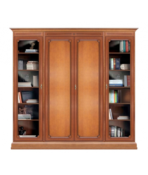 Wooden wall unit with glass doors sku 215-vp