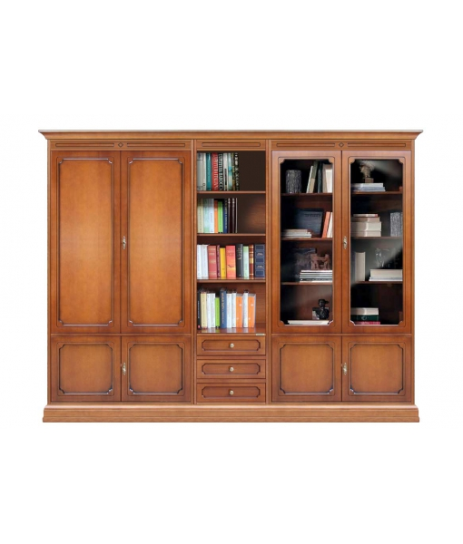Wall unit with glass doors and shelves sku 217-A