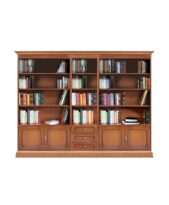 Bookcase wall unit, classic bookcase, wooden book rack, wooden wall unit for books