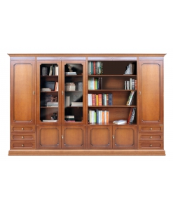 Large wall unit for living room, classic wooden book rack, classic bookcase, living room, classic furniture