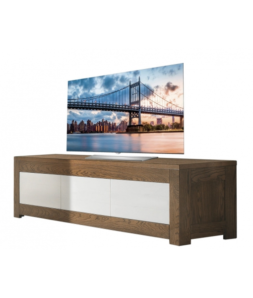 Two tone tv stand in ash wood for living room. Sku MG717