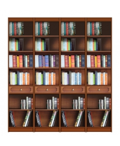 open shelving wall unit, wooden bookcase, bookshelf in wood with drawers, classic bookcase