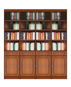 wooden bookcase open shleving, office bookcase, bookshelf, wood furniture, classic bookcase, 4 door bookcase