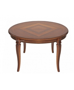 round inlaid table, extendable table, rounded table, dining table