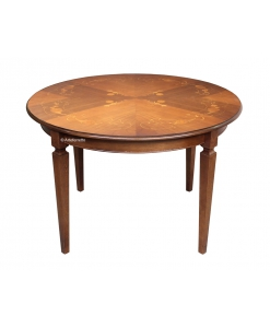 round inlaid dining table, extendable table, solid wood table, dining table with inlay, kitchen table, dining room round table