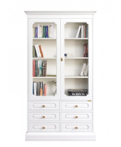 Glass doors tall bookcase, wooden bookcase, white bookcase, living room bookcase, office bookcase, bookshelf, 6 drawer bookcase, living room cabinet, display cabinet