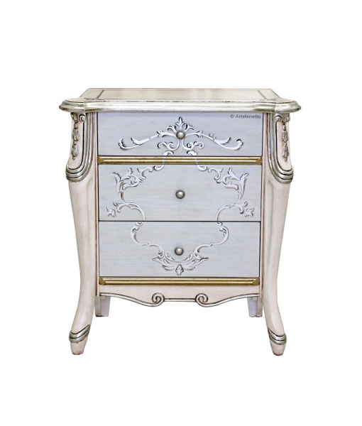 Silver decorated bedside table. Sku 6714-s
