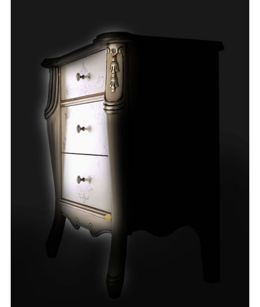 silver decorated bedside table, wooden nightstand, bedroom side table, 3 drawers bedside table