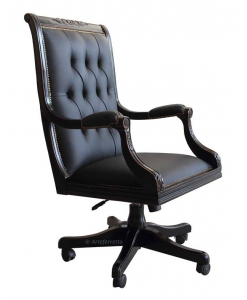 Office swivel armchair, black armchair, black furniture, wooden swivel armchair, office armchair