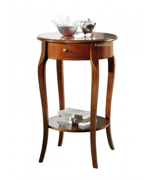 Round lamp table with drawer. Sku E-5113
