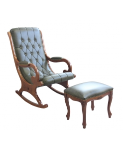 Rocking armchair and footrest stool, rocking armchair, classic style,