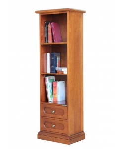 Space saving bookcase, 2 drawers bookcase, open bookcase, wood bookcase, italian design. office bookcase, living room bookcase