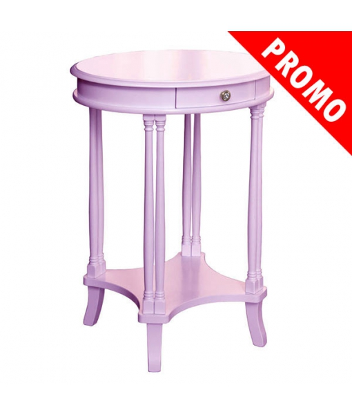 Oval side table, colored. Living room furniture. Sku 1614-LIL-promo