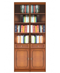 wood bookcase 2 doors, wooden bookcase, bookshelf, wooden furniture, living room bookcase