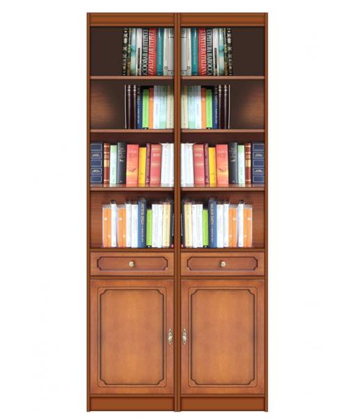 Wood bookcase 2 doors . Sku ec-com-02_styl