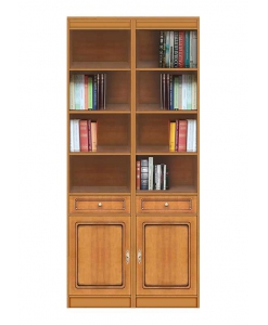 Wood bookcase 2 doors