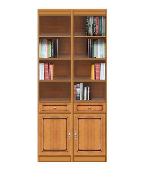 Wood bookcase 2 doors . Sku ec-com-02