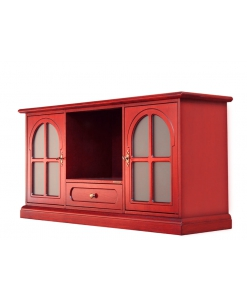 red tv cabinet, wood tv stand, tv unit , living room tv unit, living room cabinet, red cabinet, 2 glass door cabinet, red sideboard, colored furniture