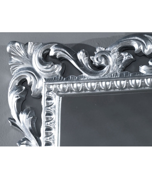 wood carved mirror for entryway, silver leaf mirror, rectangular mirror, rectangular frame, carved frame, wood frame, gold leaf mirror