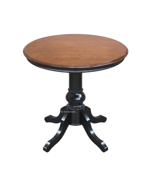 Two tones round table for dining room. Top in bassano colour, structure in Black. Sku 269-bic