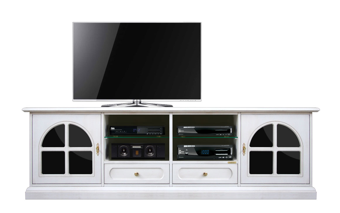 Arteferretto Porta Tv.Details About Living Room Tv Unit In White And Black Doors Wooden Tv Cabinet Handcrafted