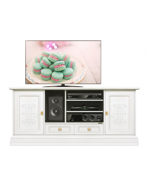 Wooden tv cabinet with friezes on doors. Sku 4070-you