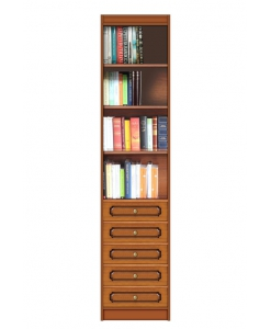 space saving open bookcase, wooden bookcase, wood bookshelf with drawers, high cabinet, living room furniture, office bookcase