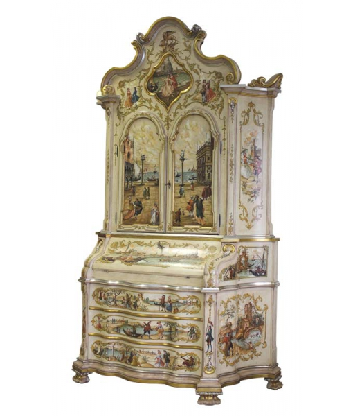 Venetian trumeau in wood fully decorated. SKU TRU-VEN