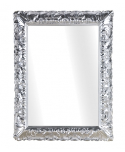 rectangular mirror in silver leaf finish, rectangular mirror, entryway mirror, mirrors, golden mirror, silver frame, classic mirror