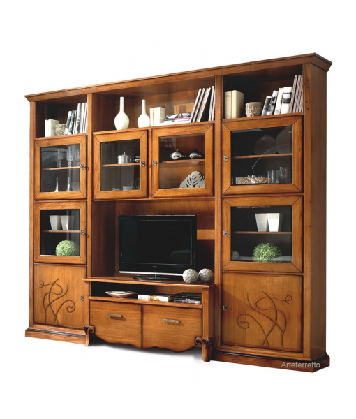 Living wall unit in wood in cherry colour. Sku fs-b29