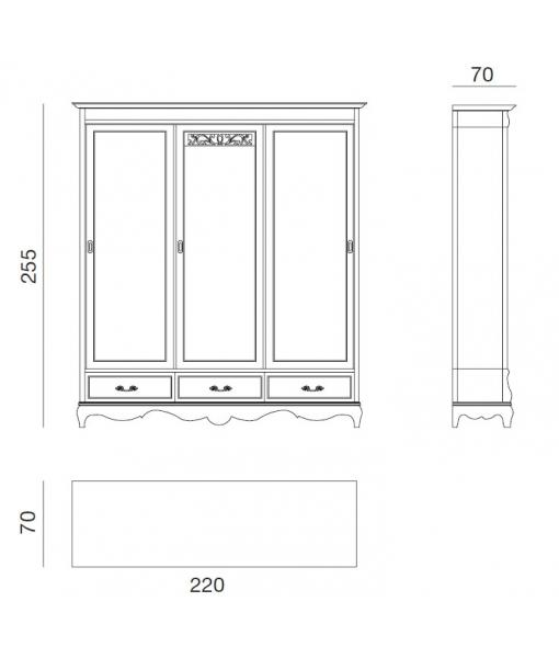 bedroom wardrobe, classic style wardrobe, bedroom furniture, Arteferretto, 3 door wardrobe,