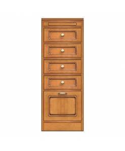 Storage cabinet with 1 door and 4 drawers, space saving sideboard, modular sideboard, made in italy, arteferretto