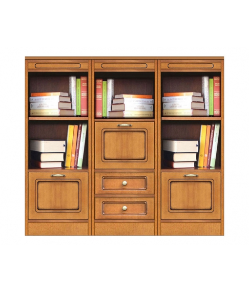 Low wooden bookcase. Sku Compos-3d