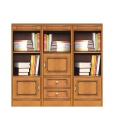 low wooden bookcase, bookshelf in wood, classic bookcase, wood cabinet, office furniture, living room cabinet, Arteferretto