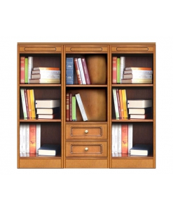 bookshelf in wood, 2 drawer bookcase, wooden bookcase, office bookcase, Arteferretto, modular bookcase, living room bookcase, low bookcase, low cabinet, living room cabinet,
