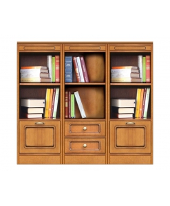 low bookcase, wooden bookcase, modular bookcase, wood cabinet, Arteferretto, living room cabinet, office bookcase