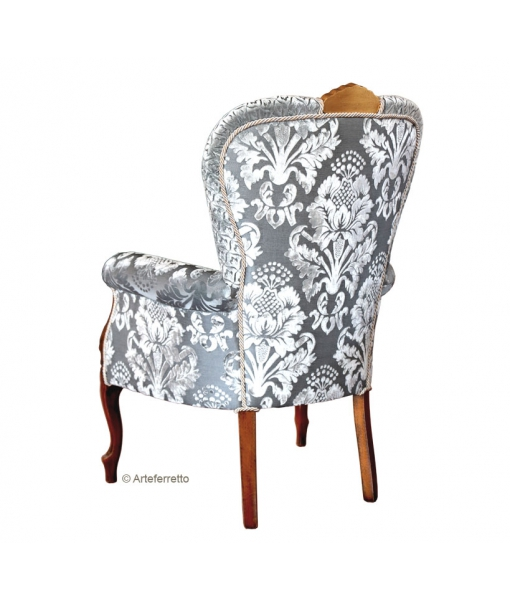 upholstered armchair, living room armchair, carved armchair, classic style armchair, solid beech wood armchair, Arteferretto