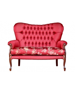 2 Seater upholstered sofa, upholstered couch, classic style sofa, red sofa, living room sofa, hallway sofa, Arteferretto
