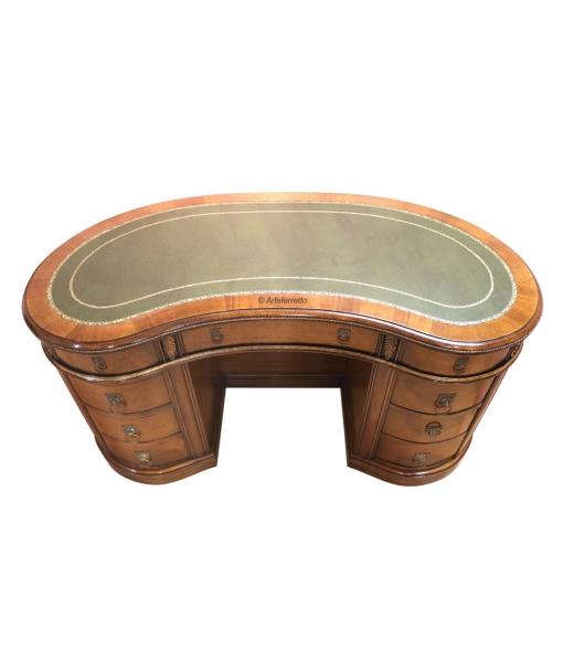 kidney shaped desk, kidney desk, classic desk, writing desk, office desk, wooden desk, office furniture, classic desk, leather top desk, classic writing desk
