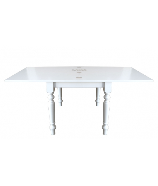 lacquered flip top table, extendable dining table, wood dining table, square table in wood, solid wood table