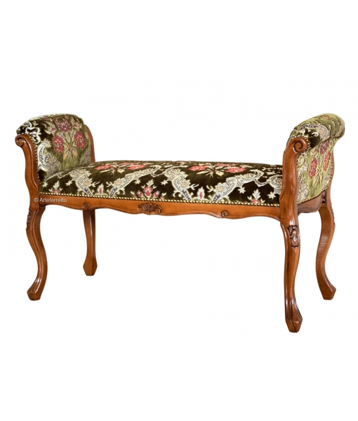 Upholstered wood bench - Green colour. Sku gm-pa-01