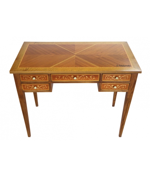 Inlaid wood desk in classic style for office or bureau. Sku sm-04