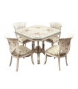 decorated dining set, wooden dining set, wood table, wooden chairs, classic style dining set, classic furniture, unique design furniture
