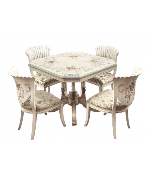 Decorated dining set in wood. Sku sm-1112