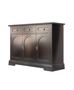 living room sideboard, wooden sideboard, black sideboard, wood furniture, wood cabinet, black cupboard, classic cupboard, Arteferretto furniture