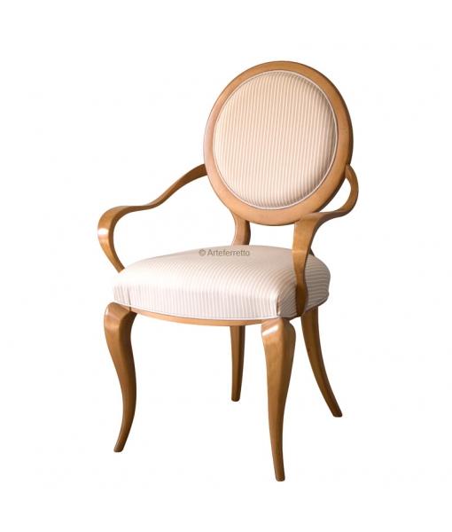Italian design armchair in solid wood. Sku AF-9513